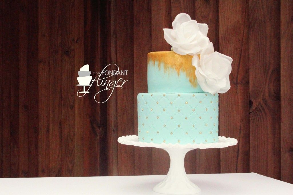 Gold Seafoam Wedding Cake {bottom tier is Hummingbird cake and the top tier is chocolate rum cake and a whipped ganache swiss meringue buttercream} YUM!   by Fondant Flinger