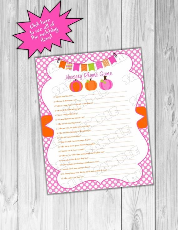 Pink Pumpkin Baby shower games nursery rhyme game Printable INSTANT DOWNLOAD UPrint by greenmelonstudios pumpkin fall baby shower