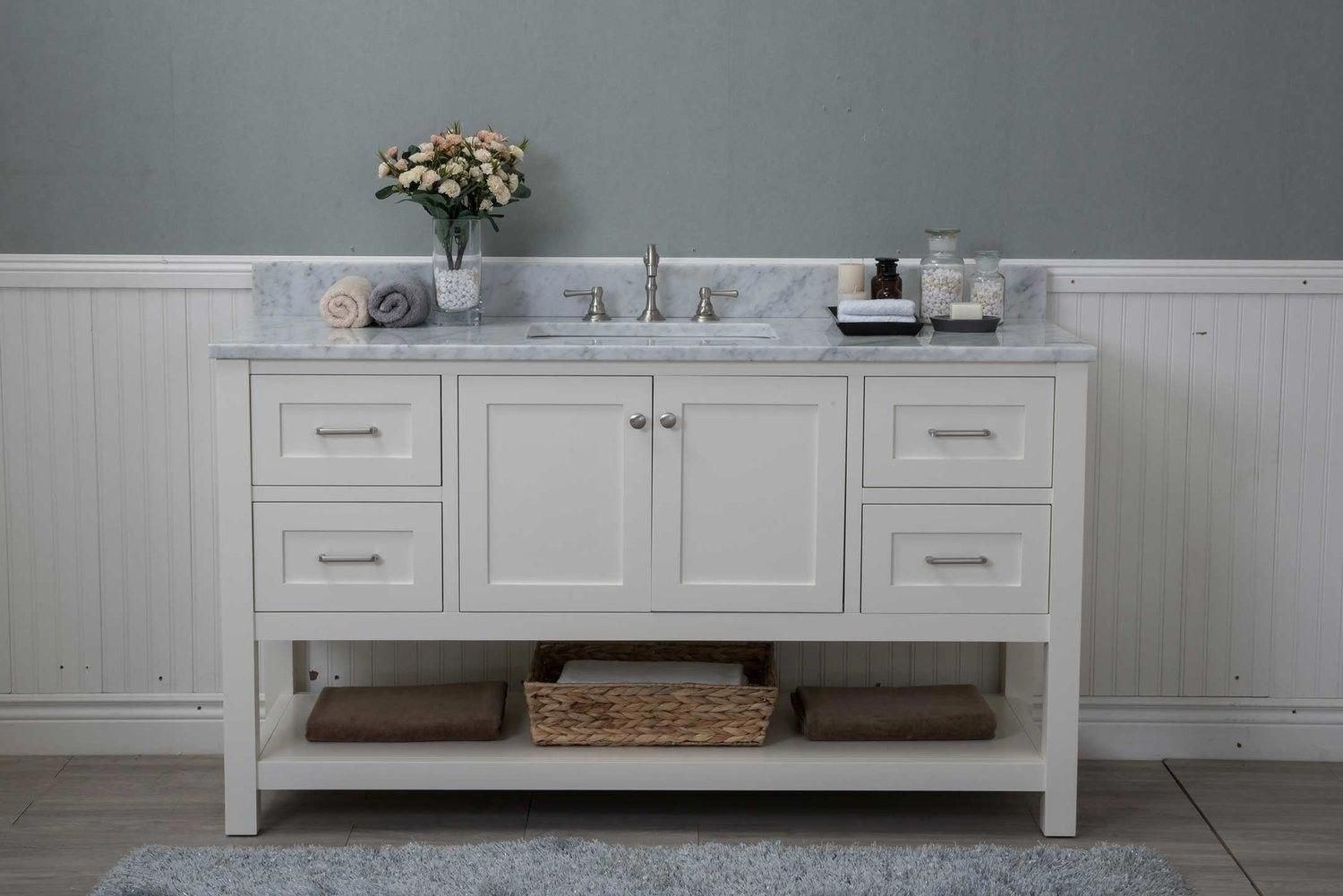 White Shaker 60 Bathroom Vanity 4 Drawers 1 Sink Open Shelf W