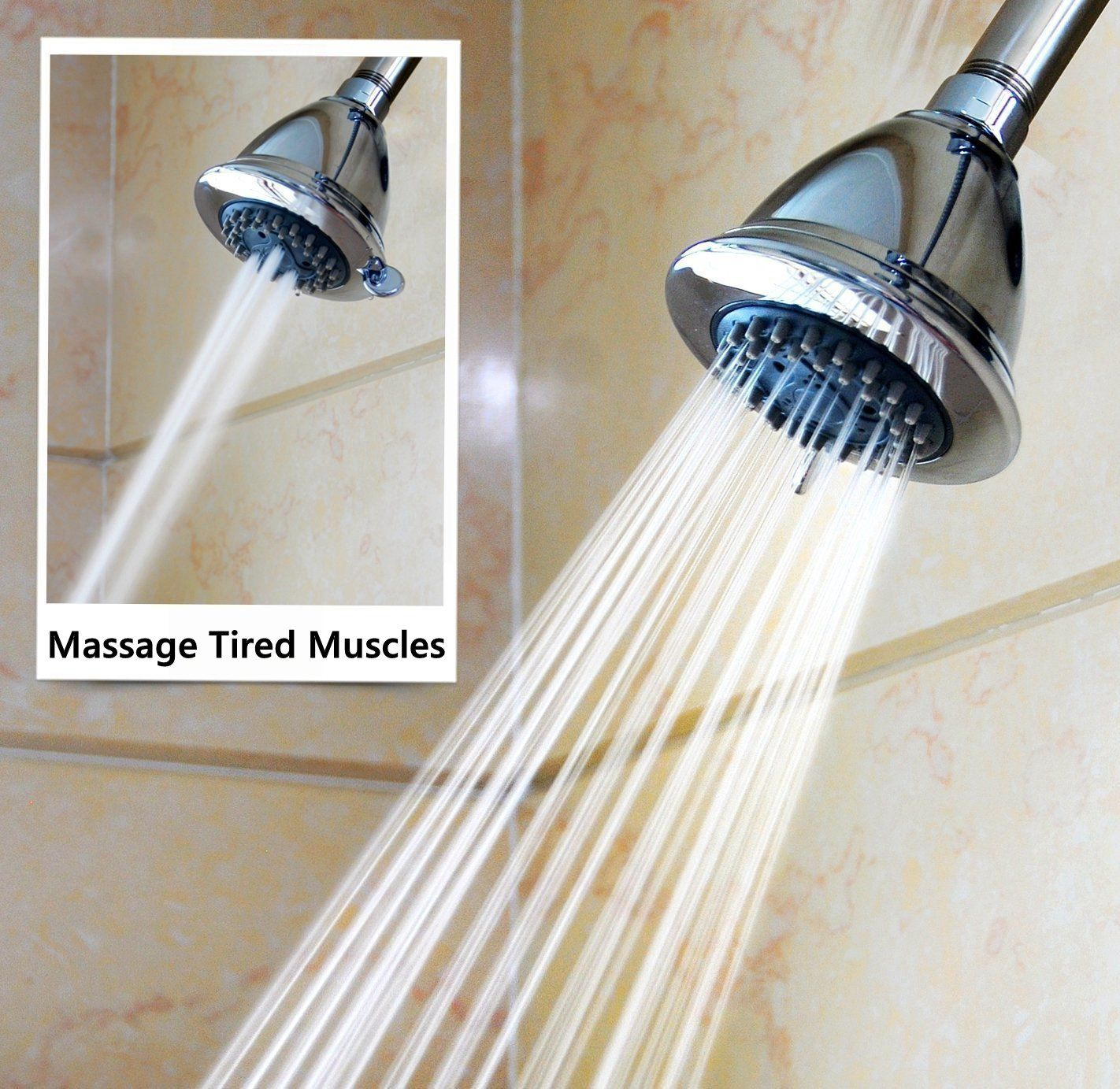 Ultimate Shower Experience Even at Low Pressure and Water Flow Shower Head High Pressure Rain Fixed Showerhead Rainfall 3-Setting Adjustable Metal Swivel Ball Joint with Filter