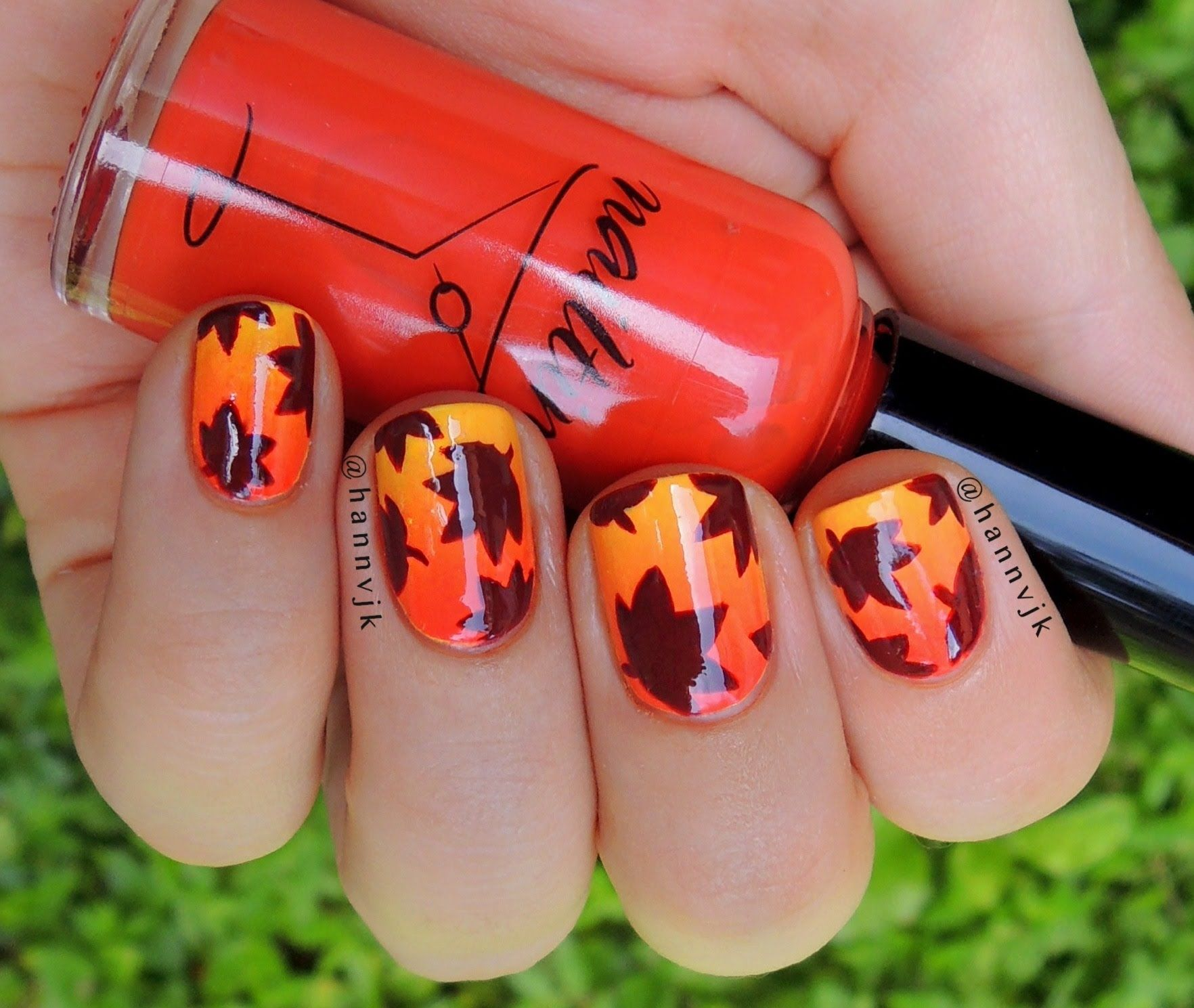 Gradient + Fall leaves nail tutorial | Nails-Fall | Pinterest ...