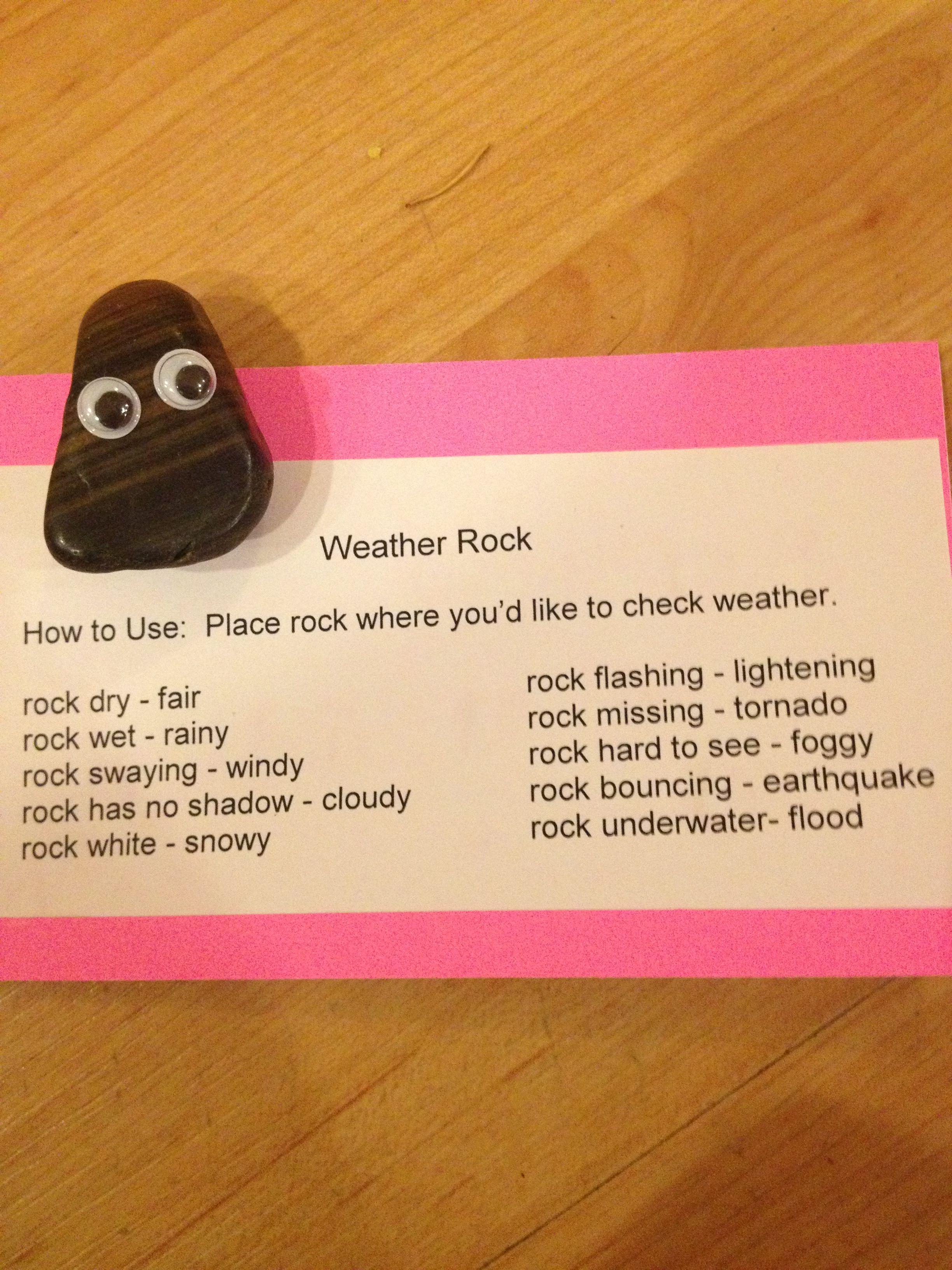 Weather rock. School market day Market day ideas, Kids