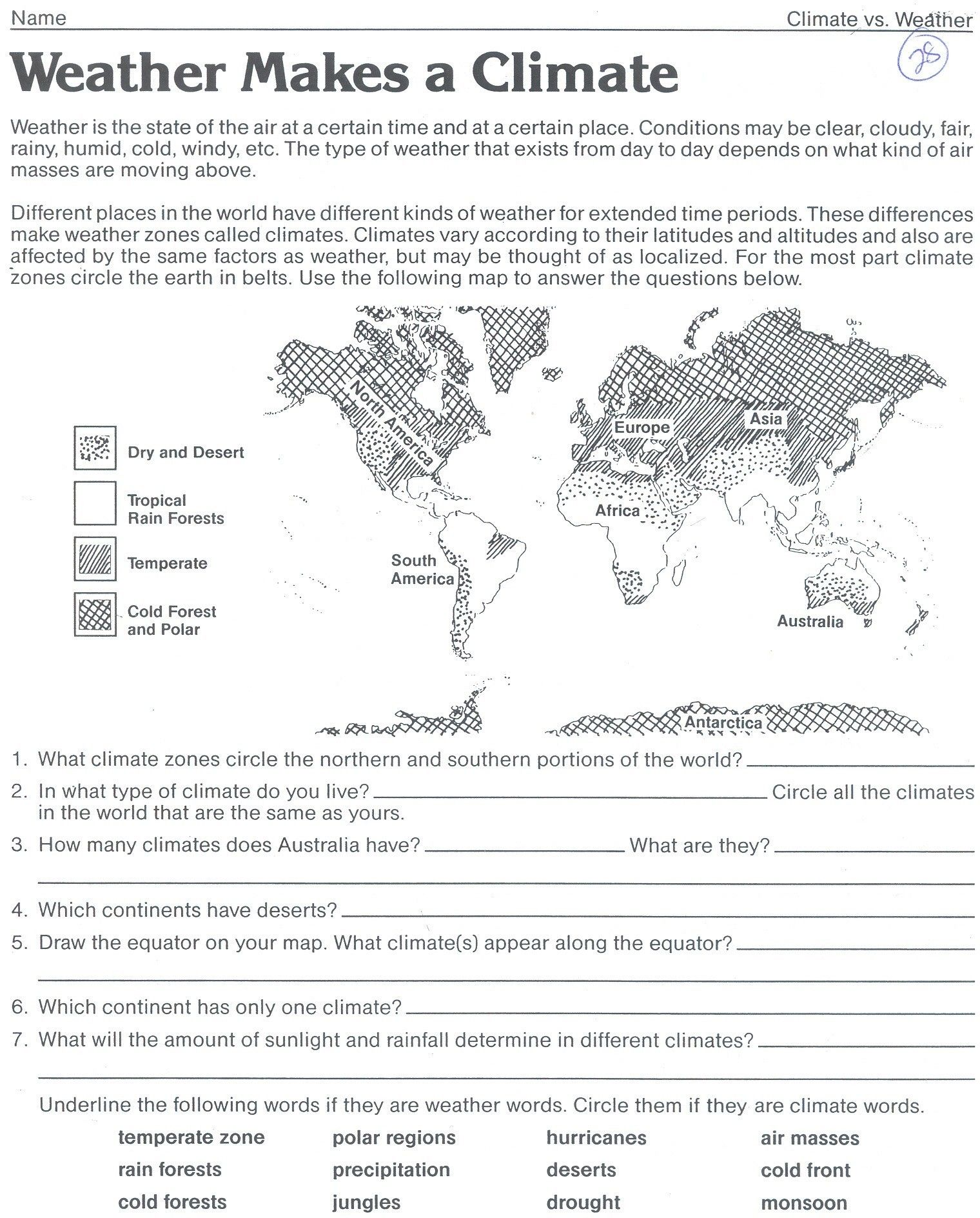Weather Map Valid Science Worksheet