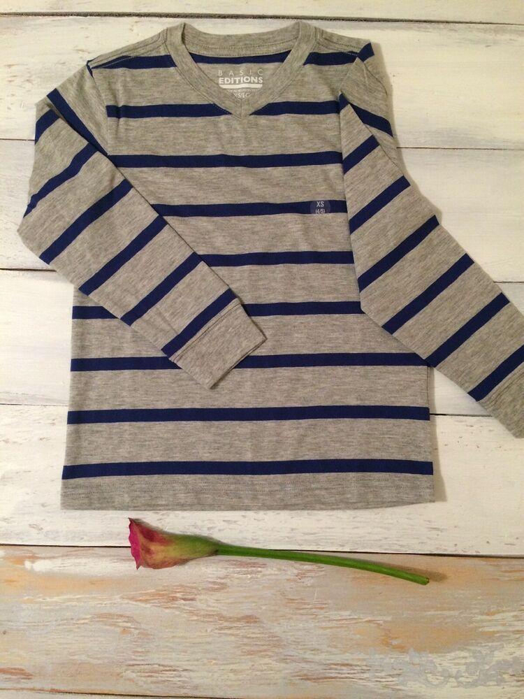 45855384139 Basic Edition Boys Gray And Blue Stripe Long Sleeve Teeshirt Size 4 5  2004