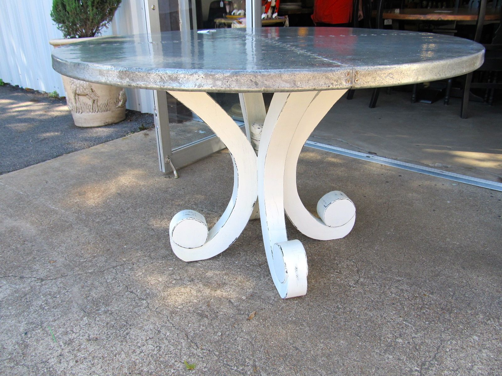 """50"""" zinc top round dining table perfect for your main"""