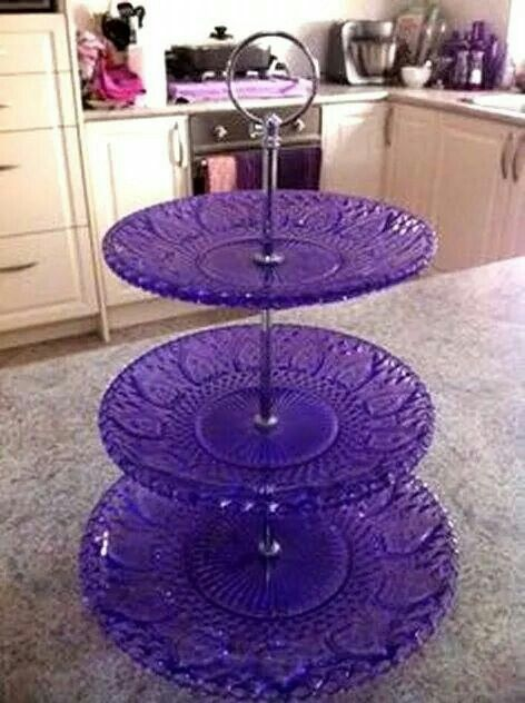 Purple 3 Tiered Serving Dish With Images Purple Kitchen