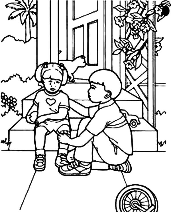 Kindness, : Kindness is Comforting Little Sister Coloring Pages ...