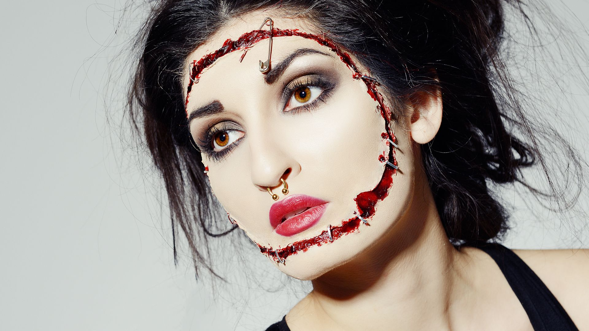 Sliced & stapled face halloween makeup tutorial