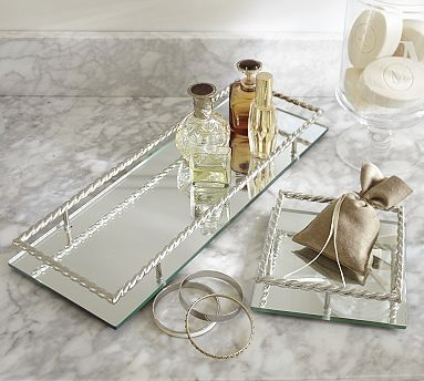Mirrored Braided Dresser Top Trays Potterybarn 27 41