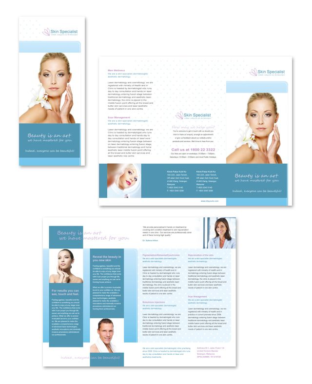 Skin Specialist Centre Tri Fold Brochure Template http\/\/www - medical brochures templates