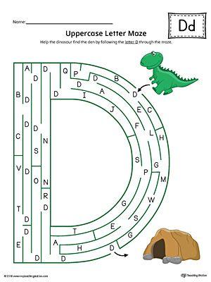 uppercase letter d maze worksheet color alphabet worksheets maze worksheet alphabet. Black Bedroom Furniture Sets. Home Design Ideas