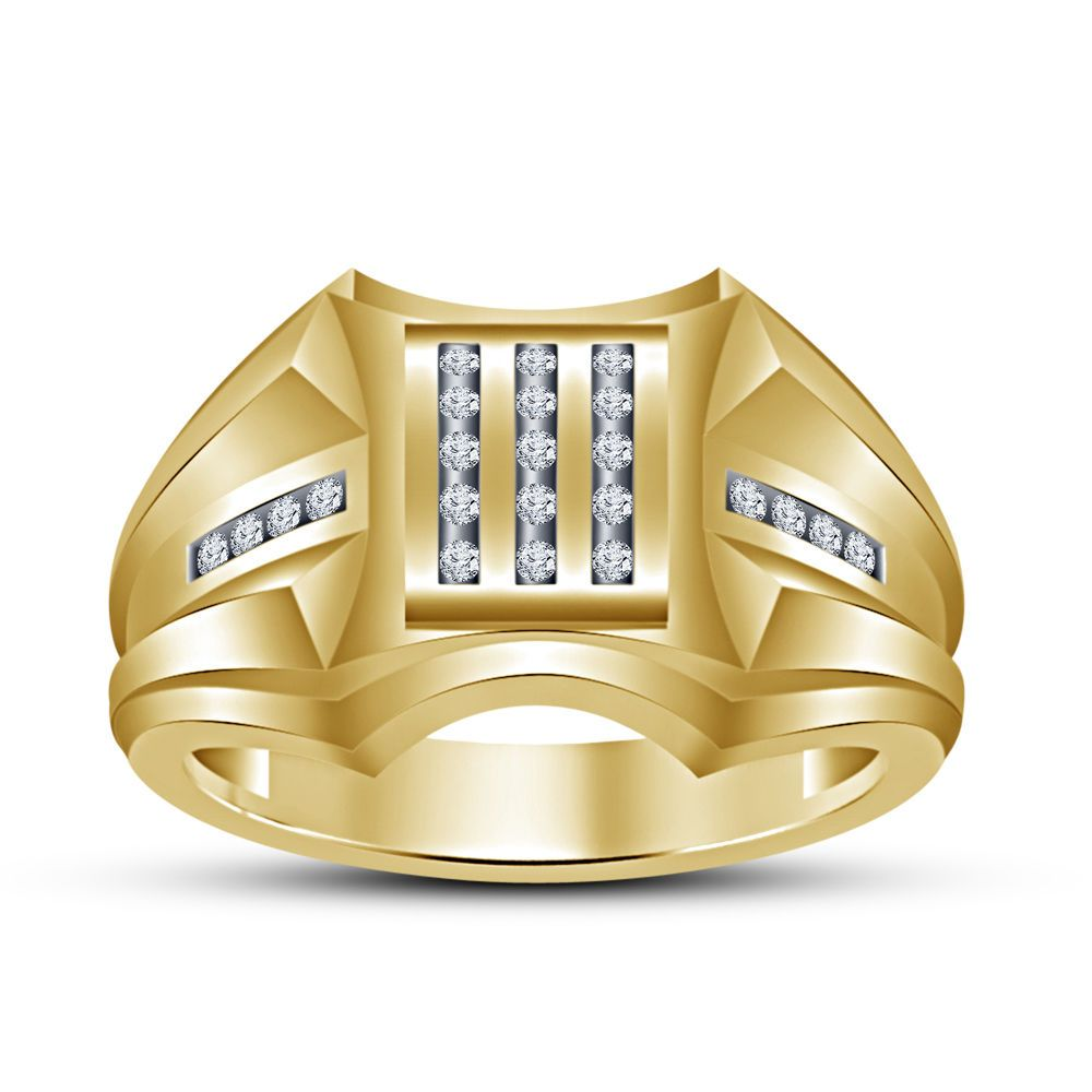 Round Cut Sim.Diamond Kite Shape Men's Wedding Ring 14K Solid Gold Fn 925 Silver #beijojewels #KiteWeddingRing