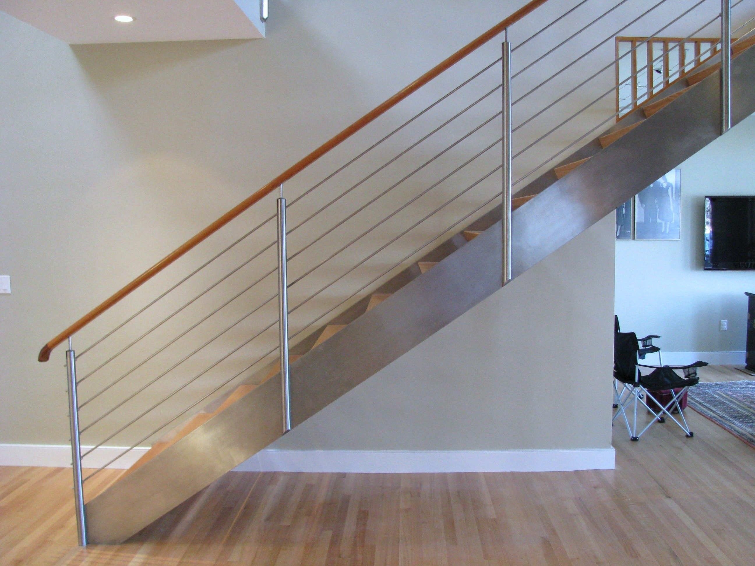 Perfect Open Riser Stair Made With Stainless Steel Plate Stringers And Stair Rails  Featuring Stainless Steel Posts