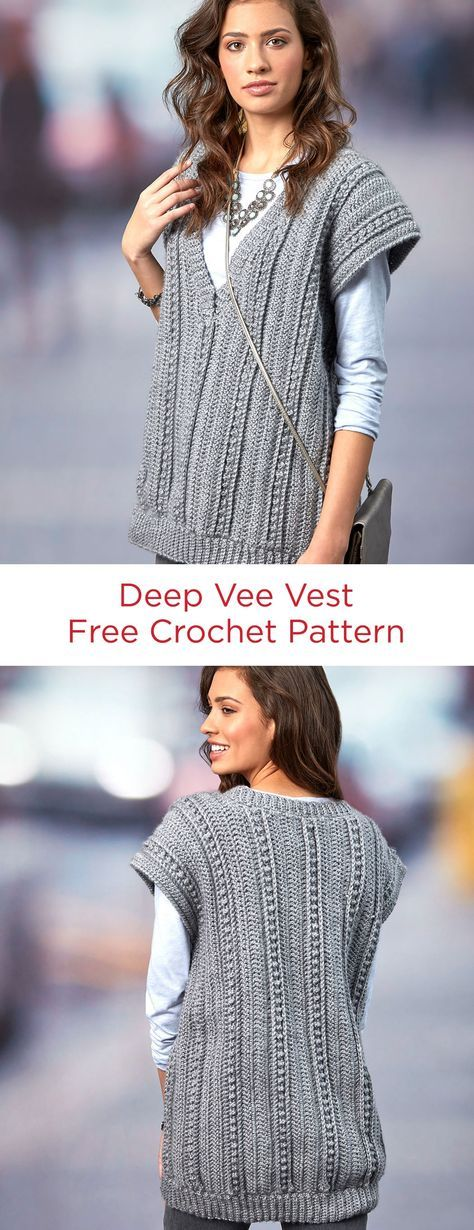 Deep Vee Vest Free Crochet Pattern in Red Heart Yarns -- If you like wearing the oversized and comfortable trend, the relaxed attitude of this crocheted vest is for you! The pattern is written for a wide range of sizes and has plenty of ease.