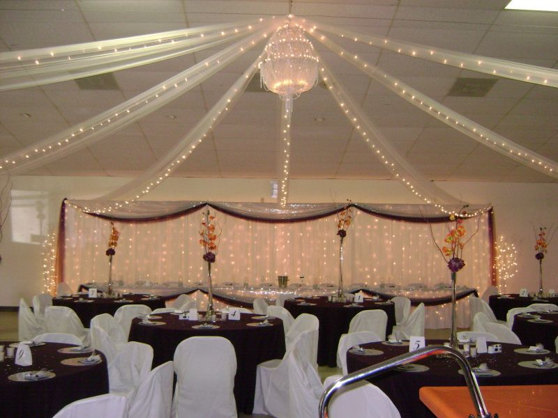 White Tulle Ceiling Drapings With Lights Backdrop With Lights
