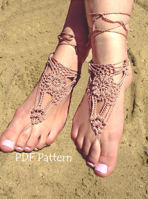 Crochet Barefoot Sandals Pattern Bridal Barefoot Sandals Beach Pool