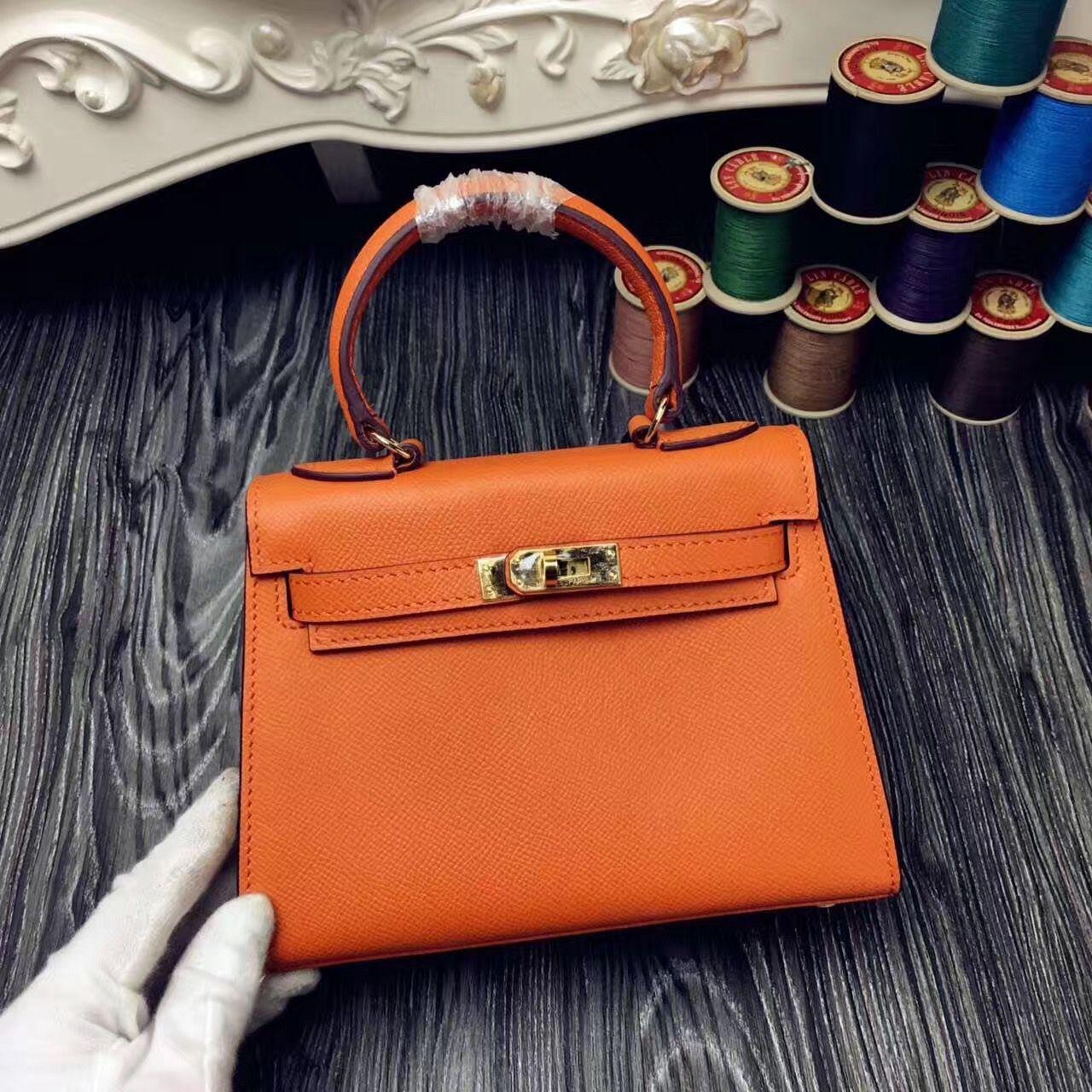 55481c597947 Hermes Original Epsom Leather Kelly 20cm Mini Bag Orange