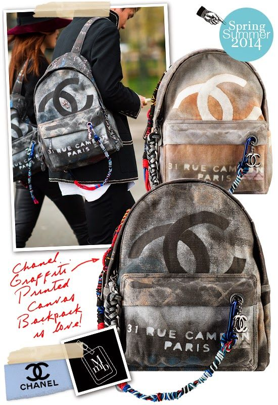 Chanel Spring Summer 2014 Graffiti Printed Canvas Bags Chanel Backpack Bags Chanel Bag