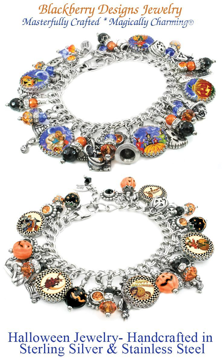 eda3b7307 Spooky and Fun halloween charm bracelets, handcrafted in stainless steel  and sterling silver from Blackberry Designs Jewelry