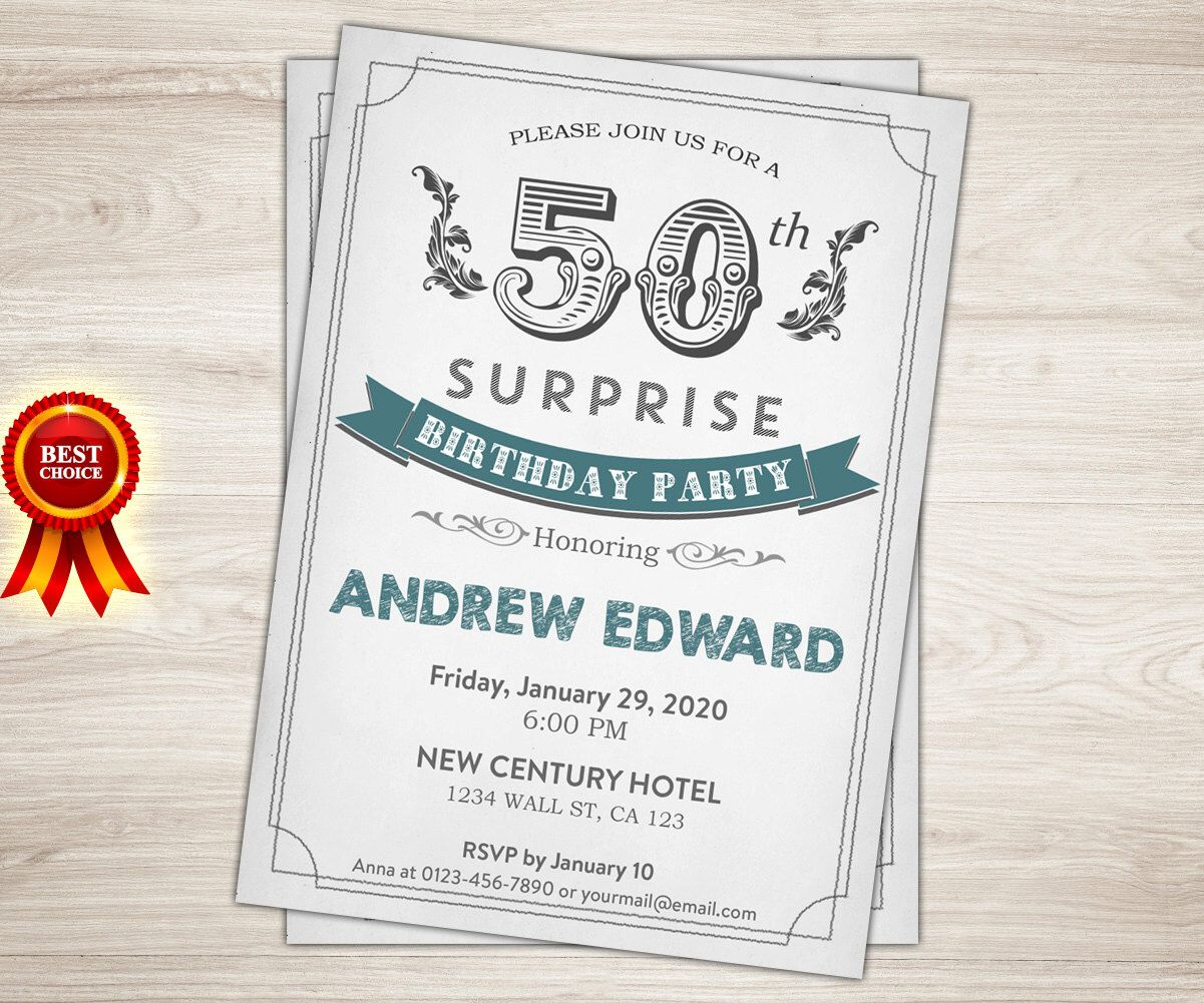 Retro 50th birthday invitation men man surprise 50th 40th 60th retro 50th birthday invitation men man surprise 50th 40th 60th 30th birthday invitation adult birthday invitation printable invite by topdigitalart on filmwisefo