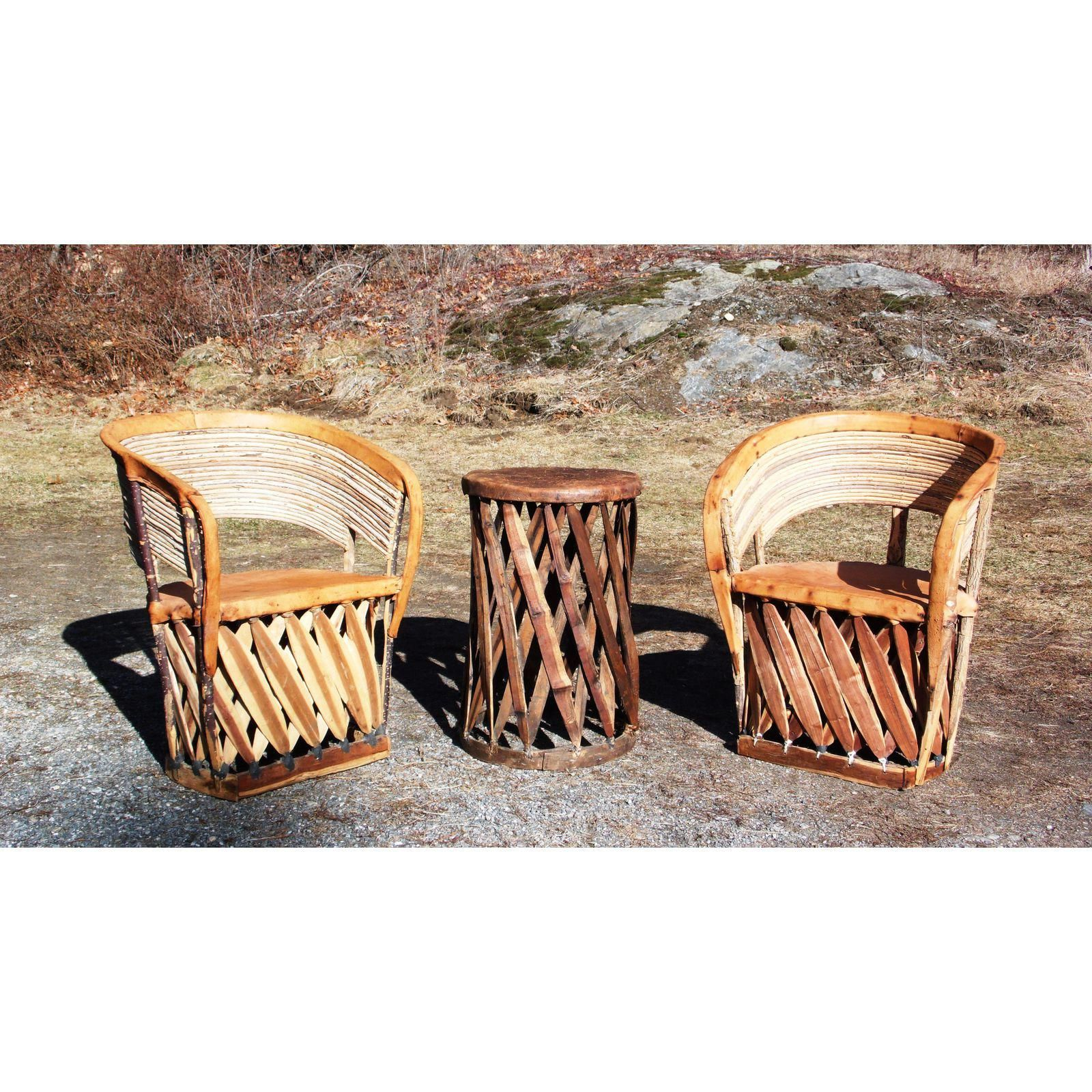 Vintage Mexican Equipale 2 Leather Barrel Chairs Table Patio