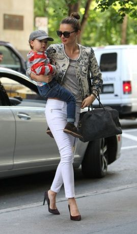 Miranda Kerr (with Flynn Bloom) in patterned jacket and Mango jeans with Balmain bag (which I will NEVER be able to afford but want so bag!) and Proenza Schouler shoes.