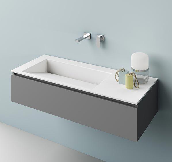 Lavabo da appoggio in Corian, Top lavabo in Corian a parete | Faust ...