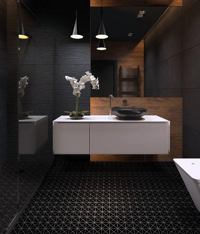 "2"" triangular matte black porcelain mosaic tile great"