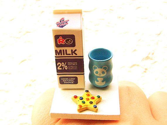 Kawaii Cute Japanese Ring Milk Cookie Miniature Food Jewelry