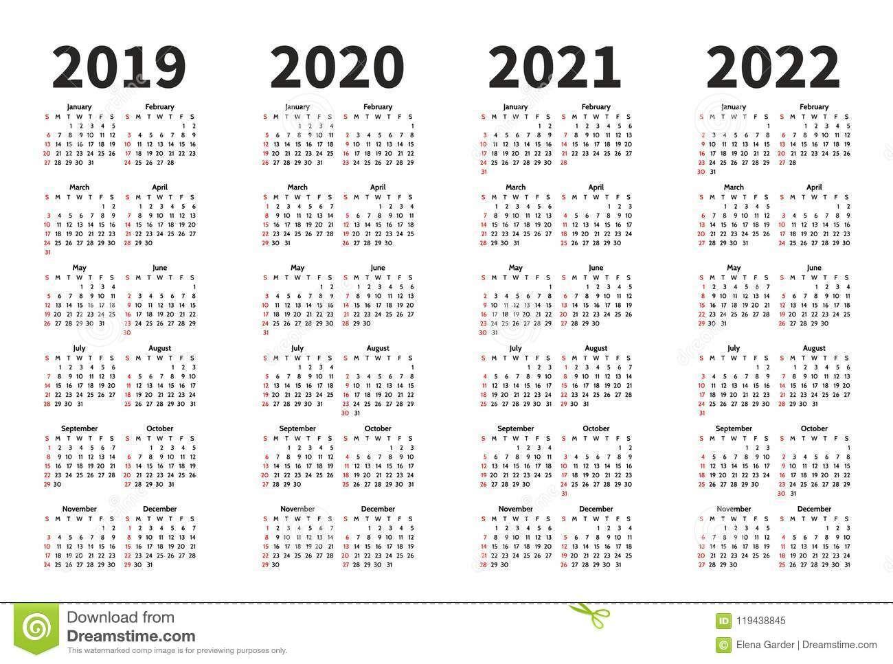 Calendar O Molde Do Projeto De Um Vetor De 2019 2020 2021 E 2022 Anos Estilo Simples Do Minimalizm A S Calendários Imprimíveis Molde Calendario Para Imprimir