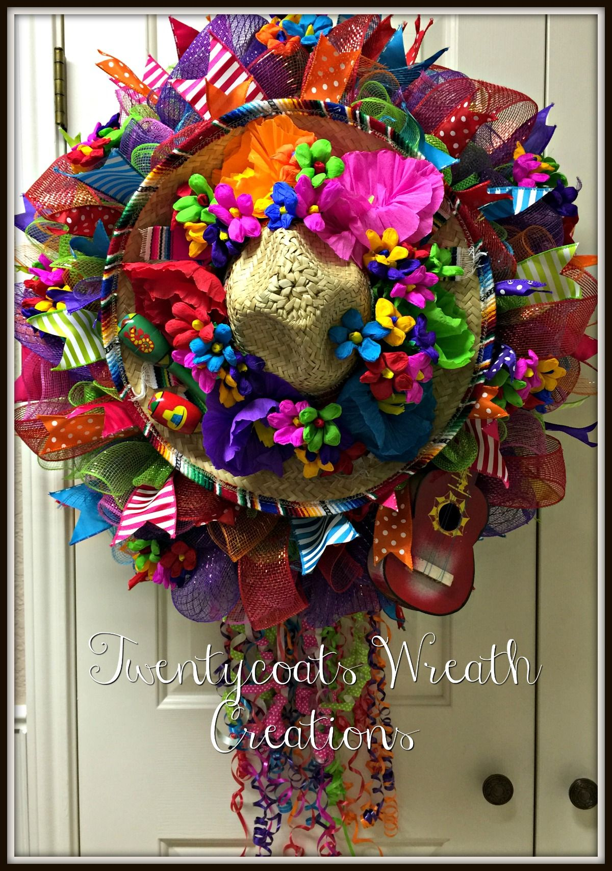 San Antonio 2016 Fiesta Wreath Made From Deco Mesh Burlap