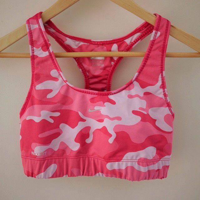 83ae34f417b23 NIKE Fit Dry Dri Pink Camo Workout Racerback Sports Bra Tank Top S-M  Nike   SportsBrasBraTops