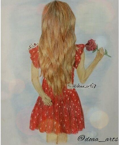 رسم بنت ووردة Art Art Drawings Drawings