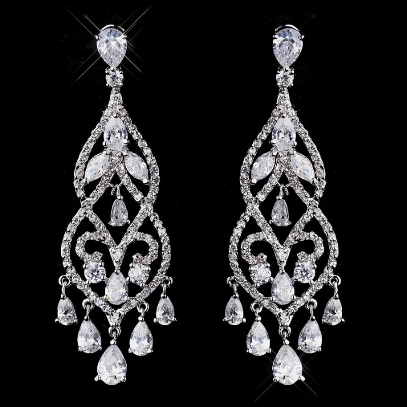 Janessa wedding chandelier earringsenlarge1 jewelry tomake classic elegant and dazzling in design the janessa wedding chandelier earrings feature a shimmering cascade of cubic zirconia stones in a rhodium silver aloadofball Choice Image