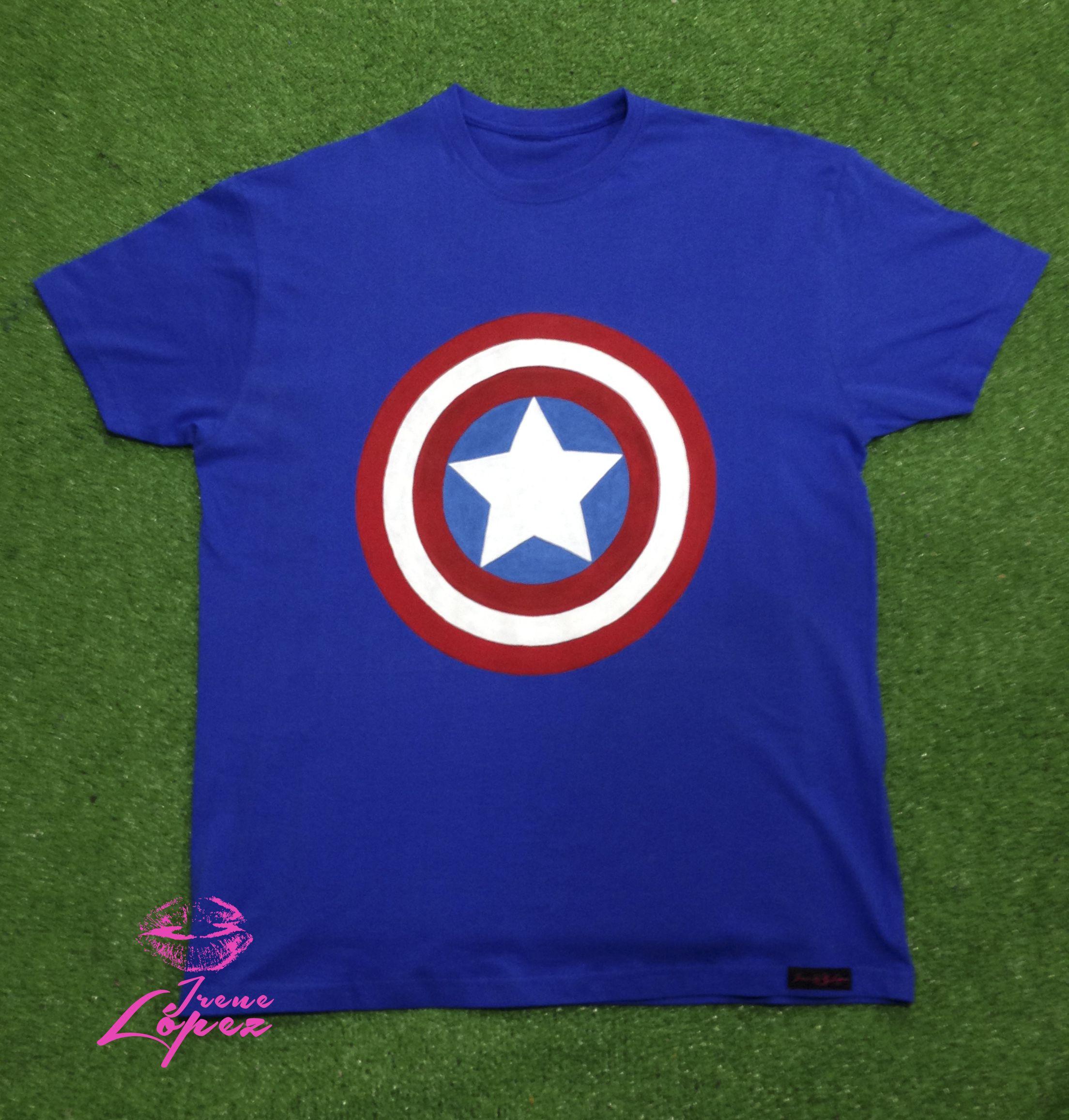 Camiseta pintada a mano Capitan America Hand painted t-shirt ...