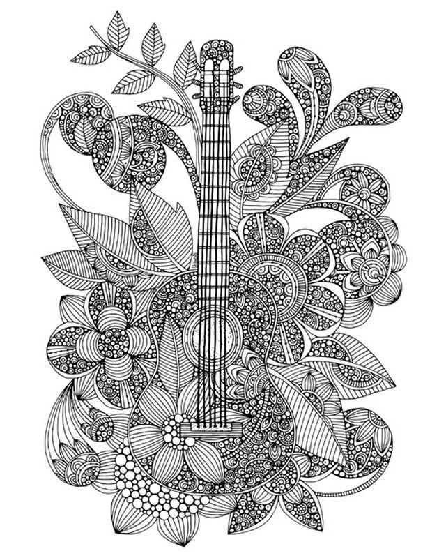 Guitar Coloring Canvas Canvas On Demand Coloring Canvas Zentangle Artwork Music Coloring