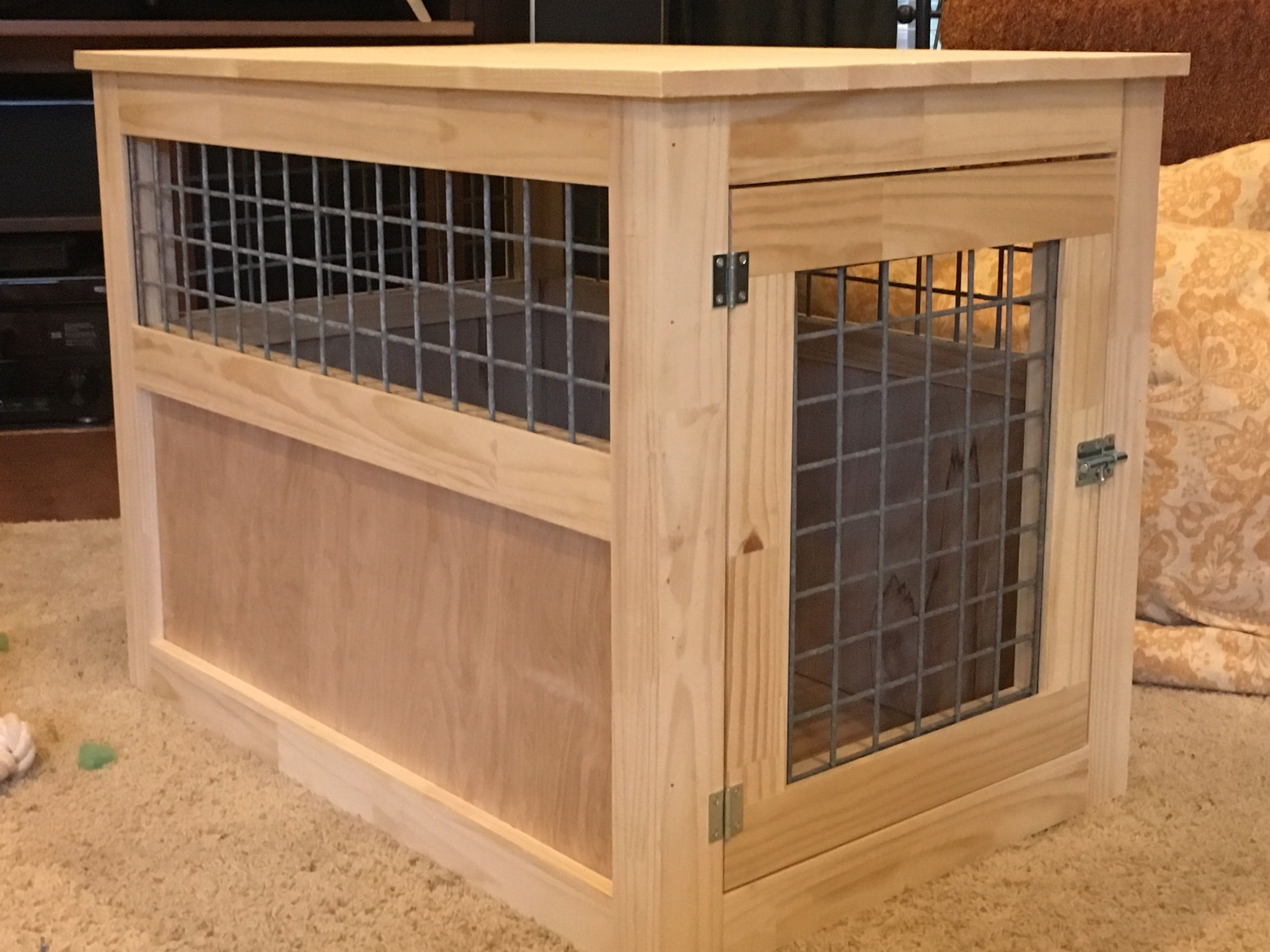 Slightly altered large dog kennel end table Do It