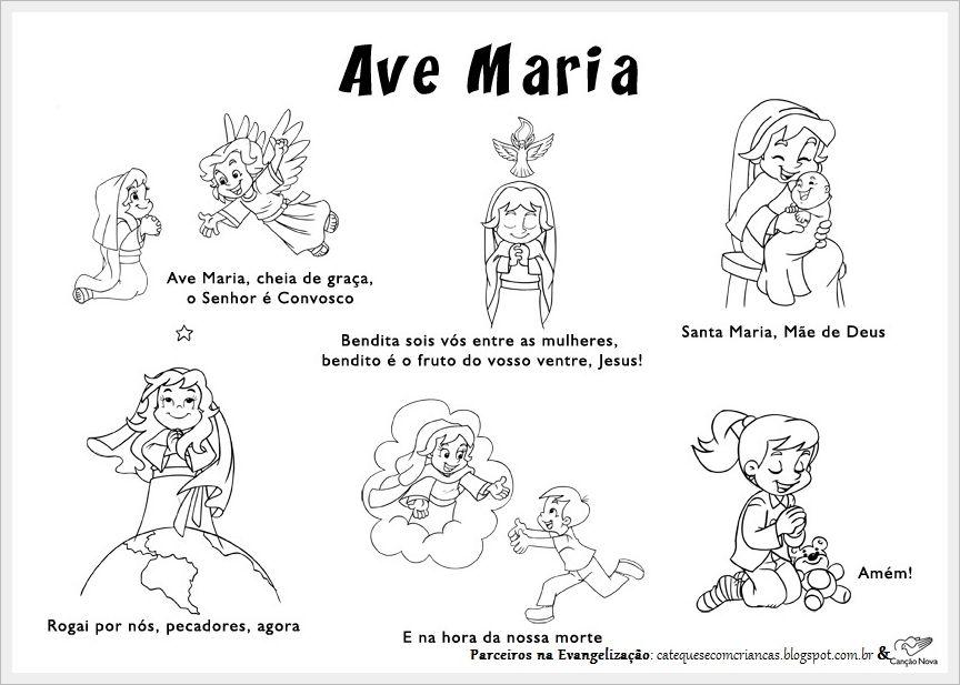 Ave Maria Para Colorir Catequese Ave Maria Catequista