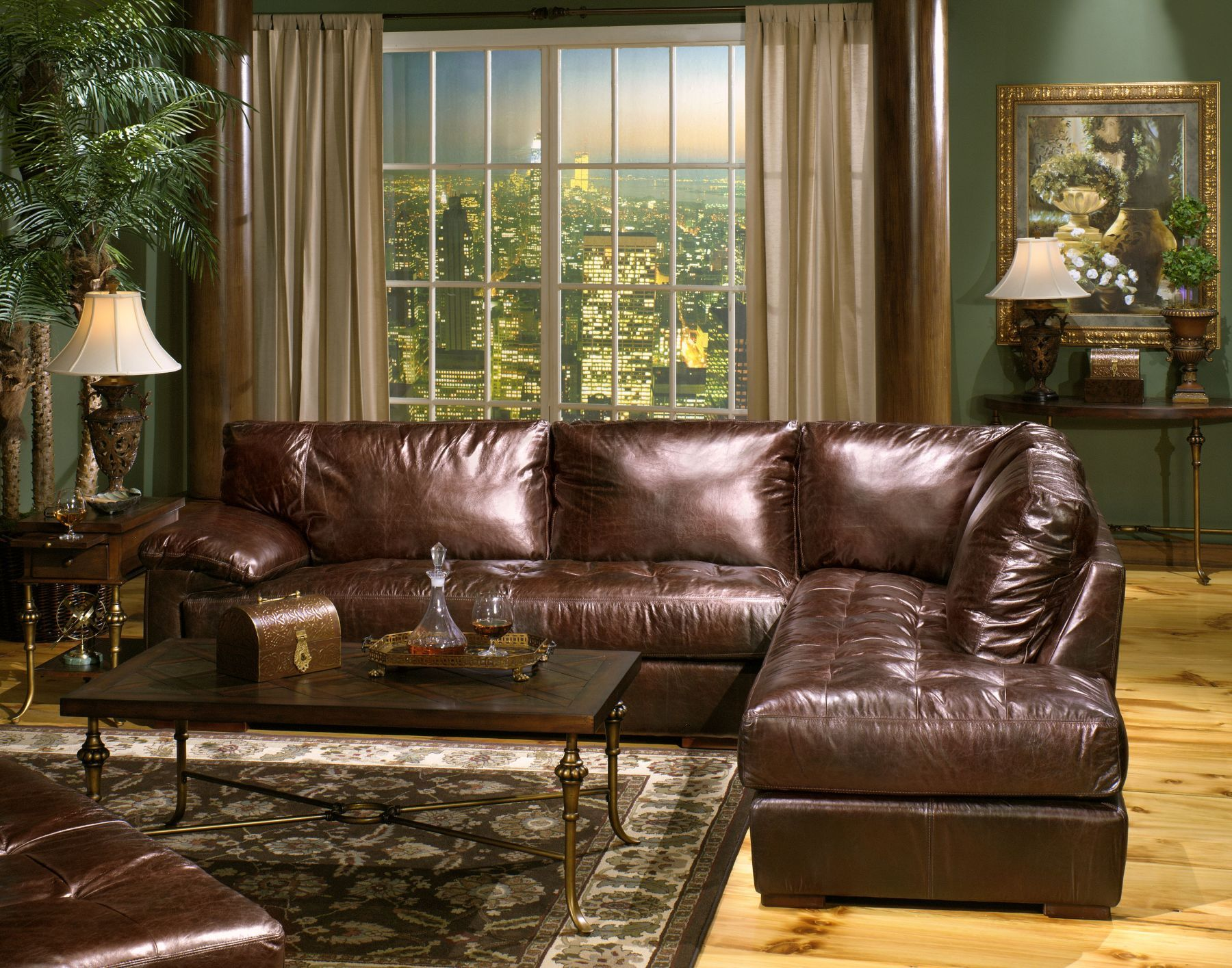 Usa Leather Bronze Sectional From Mathis Brothers Home