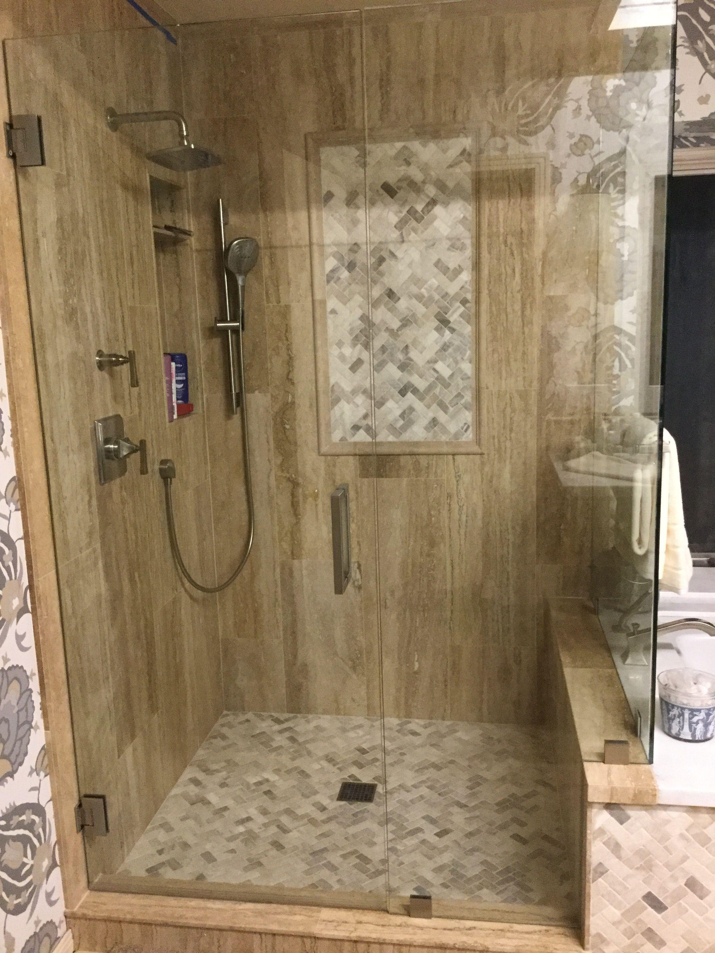 Mixed Quartz Herringbone Mosaic Shower Floors Walls Bathroom Shower Tile Bathroom Remodel Shower Shower Tile