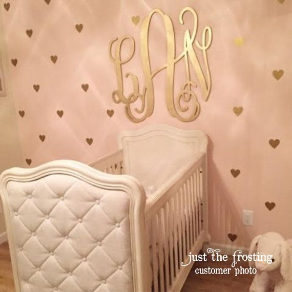 Gold Decals Gold Heart Wall Decals Confetti Heart Decals - Monogram wall decals wood