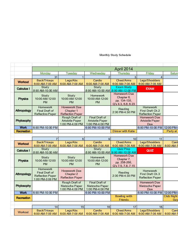 Sample Monthly Study Schedule  Marine Science    Study
