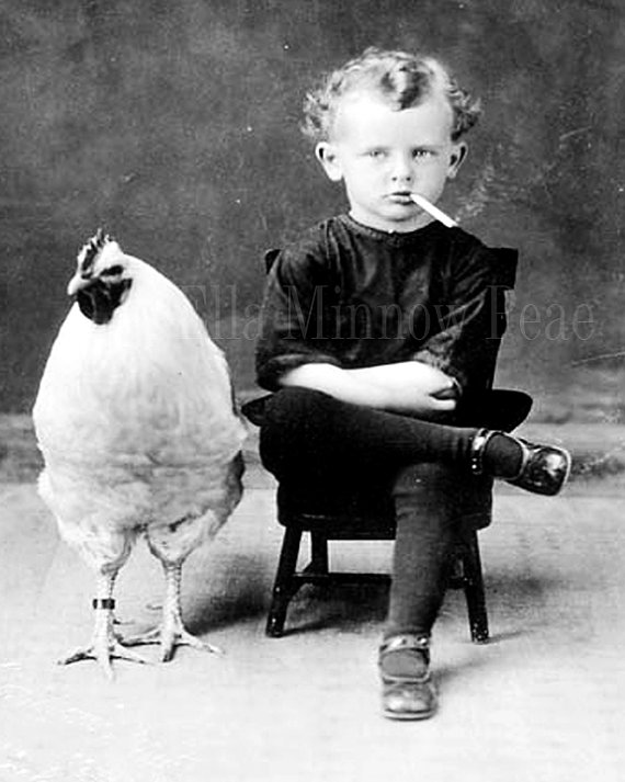 Unusual vintage reproduction photograph smoking boy with chicken black white 8x10