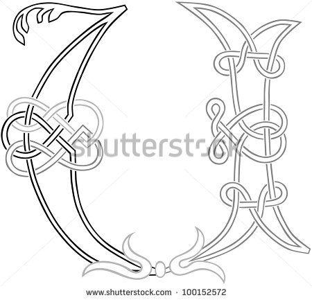 A Celtic Knot-work Capital Letter U Stylized Outline. Raster Version. - stock photo