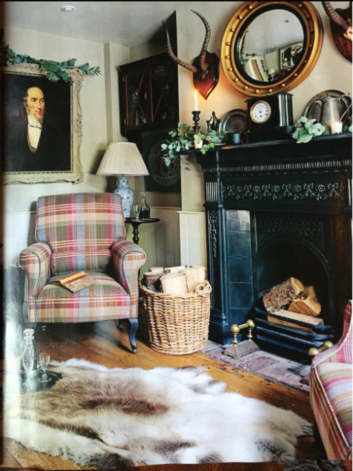 English Country English Cottage Plaid Portraits Federal Mirror