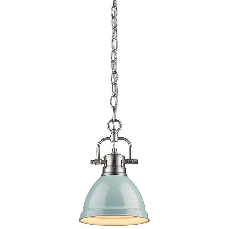 Duncan 6 1 2 Wide Seafoam Blue Mini Pendant With Chain 60k53 Lamps Plus Blue Pendant Light Mini Pendant