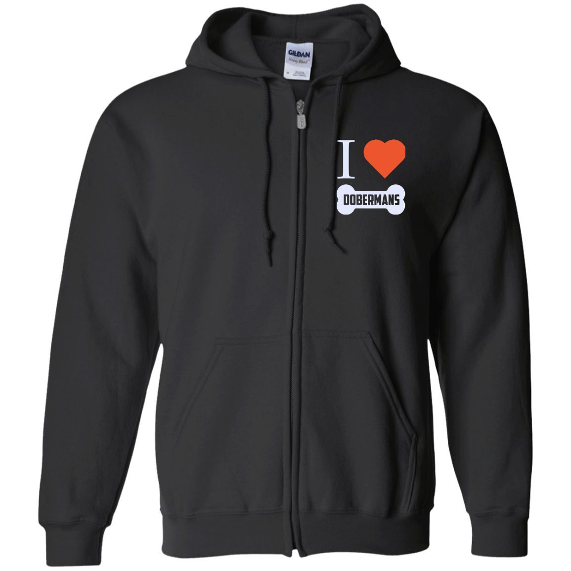 Doberman - I LOVE MY DOBERMAN (BONE DESIGN) - Embroidered Zip Up Hooded Sweatshirt