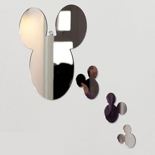 NEW 1SET 4pcs Mickey-Mouse Character Wall Mirror Home Decor Interior Design #disneyhousedecor
