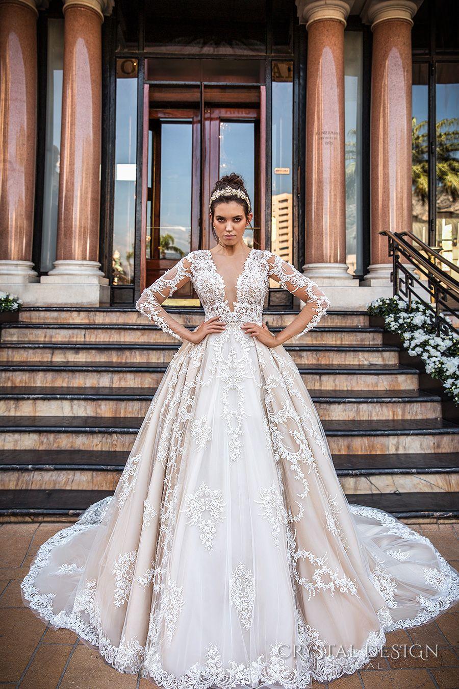 22235ea59e9712 crystal design 2017 bridal long sleeves deep plunging v neck full  embellishment bodice princess sexy ball gown a line wedding dress keyhole  back monarch ...