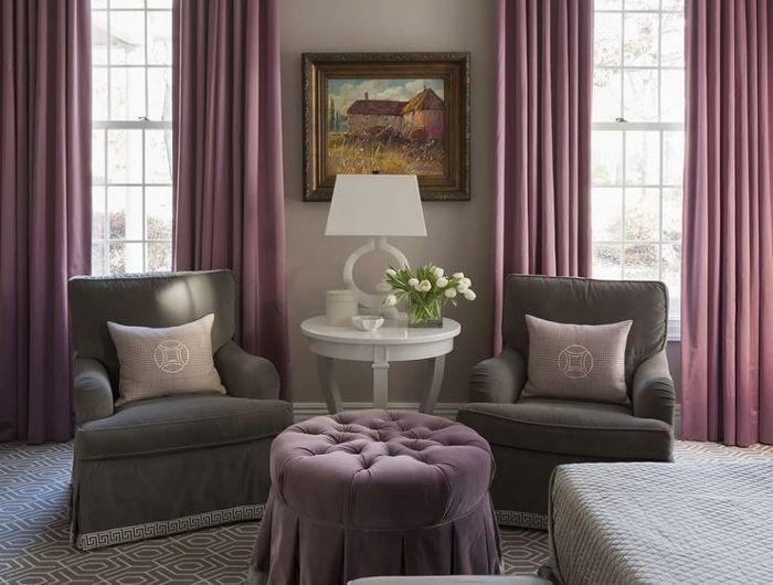 Excellente idée couleur chambre a coucher violet et gris association